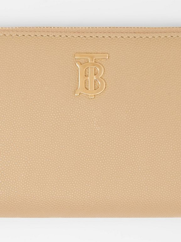 Monogram Motif Grainy Leather Ziparound Wallet in Archive Beige - Women | Burberry United Kingdom - cell image 1