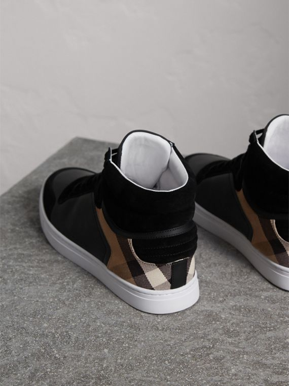 Leather and House Check High-top Trainers in Black - Men | Burberry - cell image 3