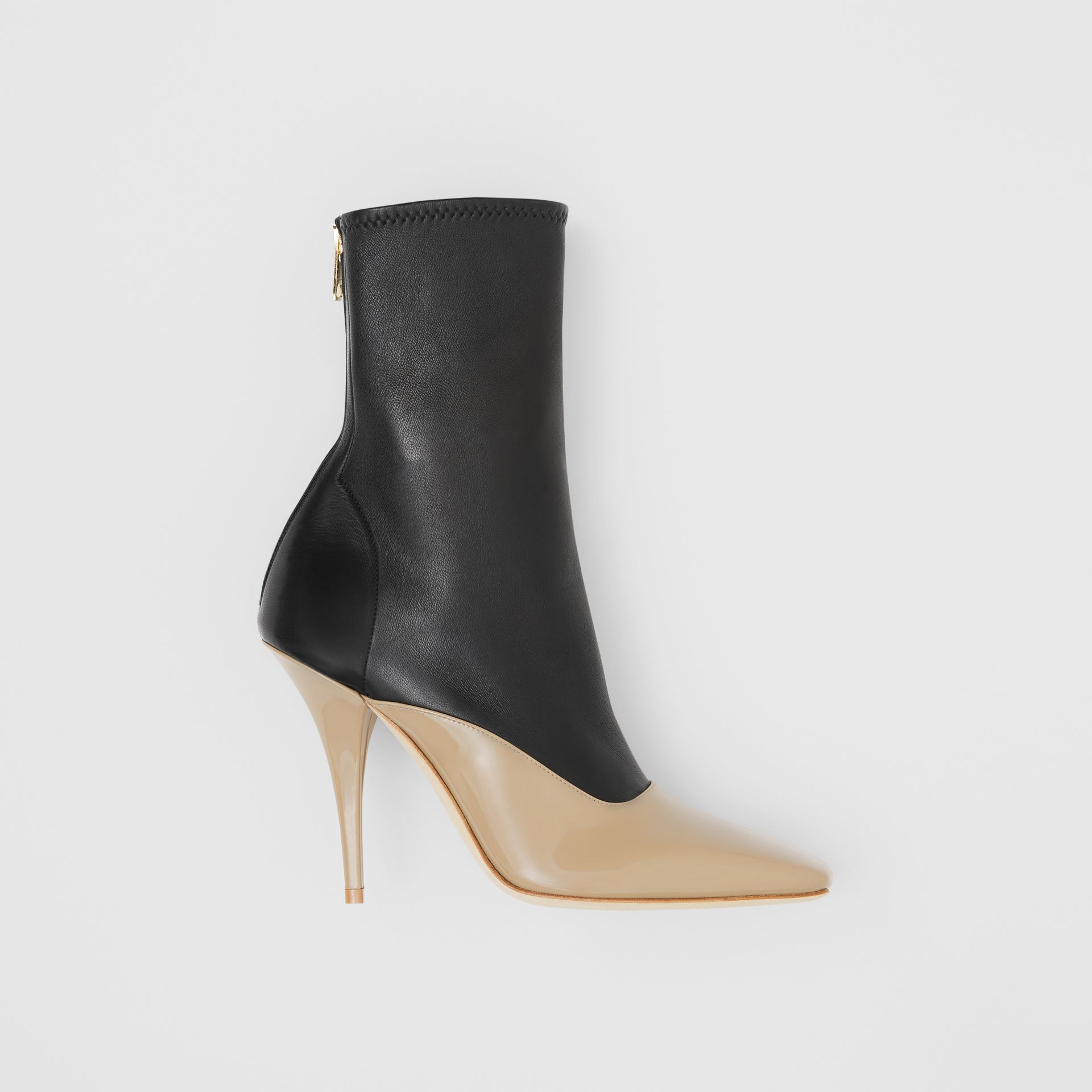 Two-tone Lambskin and Patent Leather Ankle Boots in Dark Honey/black - Women | Burberry Australia - gallery image 0