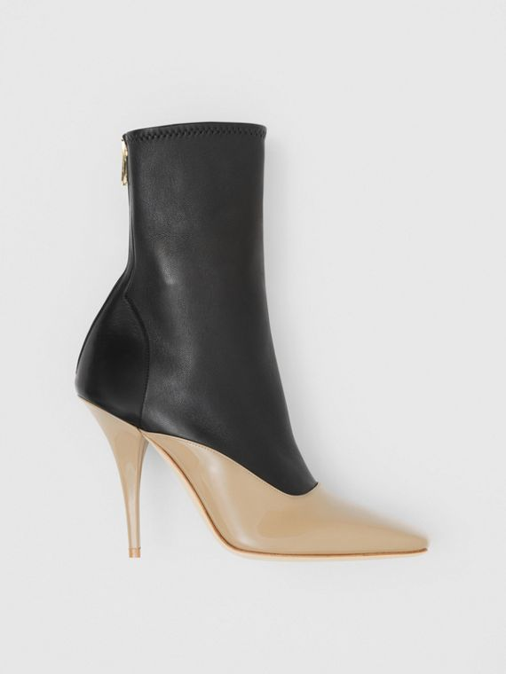 Two-tone Lambskin and Patent Leather Ankle Boots in Dark Honey/black