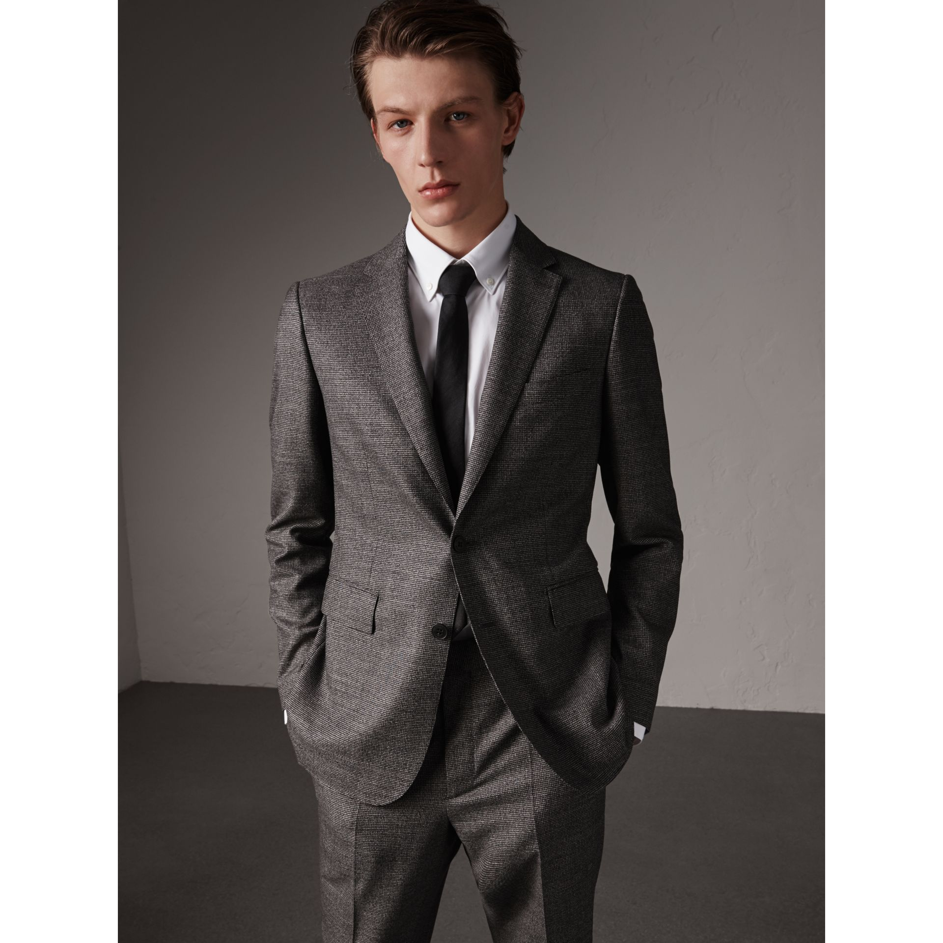 Soho Fit Houndstooth Check Wool Suit in Dark Grey Melange - Men | Burberry - gallery image 7