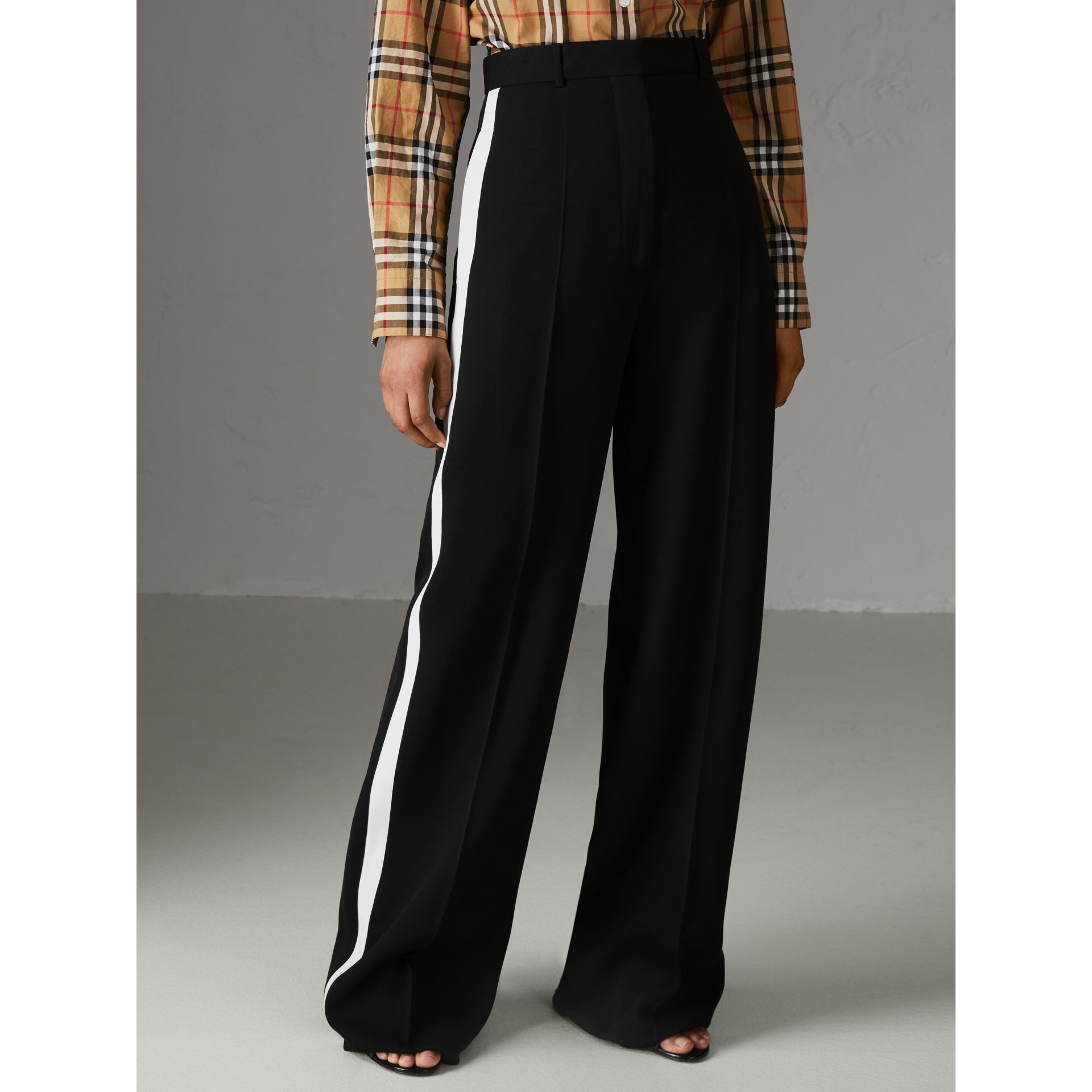 Crepe Wide-leg Trousers in Black - Women | Burberry Singapore - gallery image 4