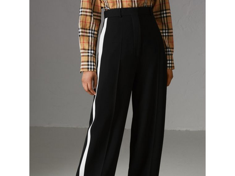 Crepe Wide-leg Trousers in Black - Women | Burberry Singapore - cell image 4
