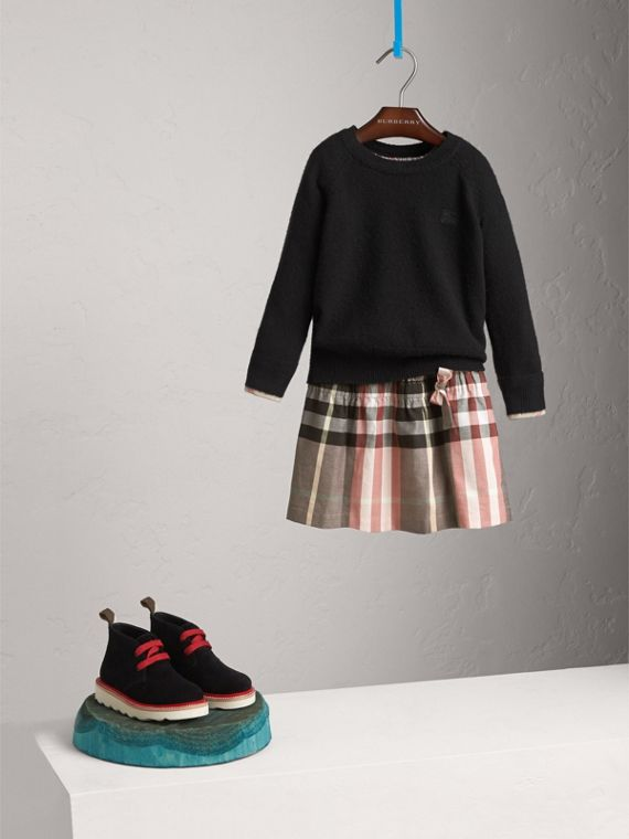 Check Cuff Cashmere Sweater in Black - Girl | Burberry Singapore
