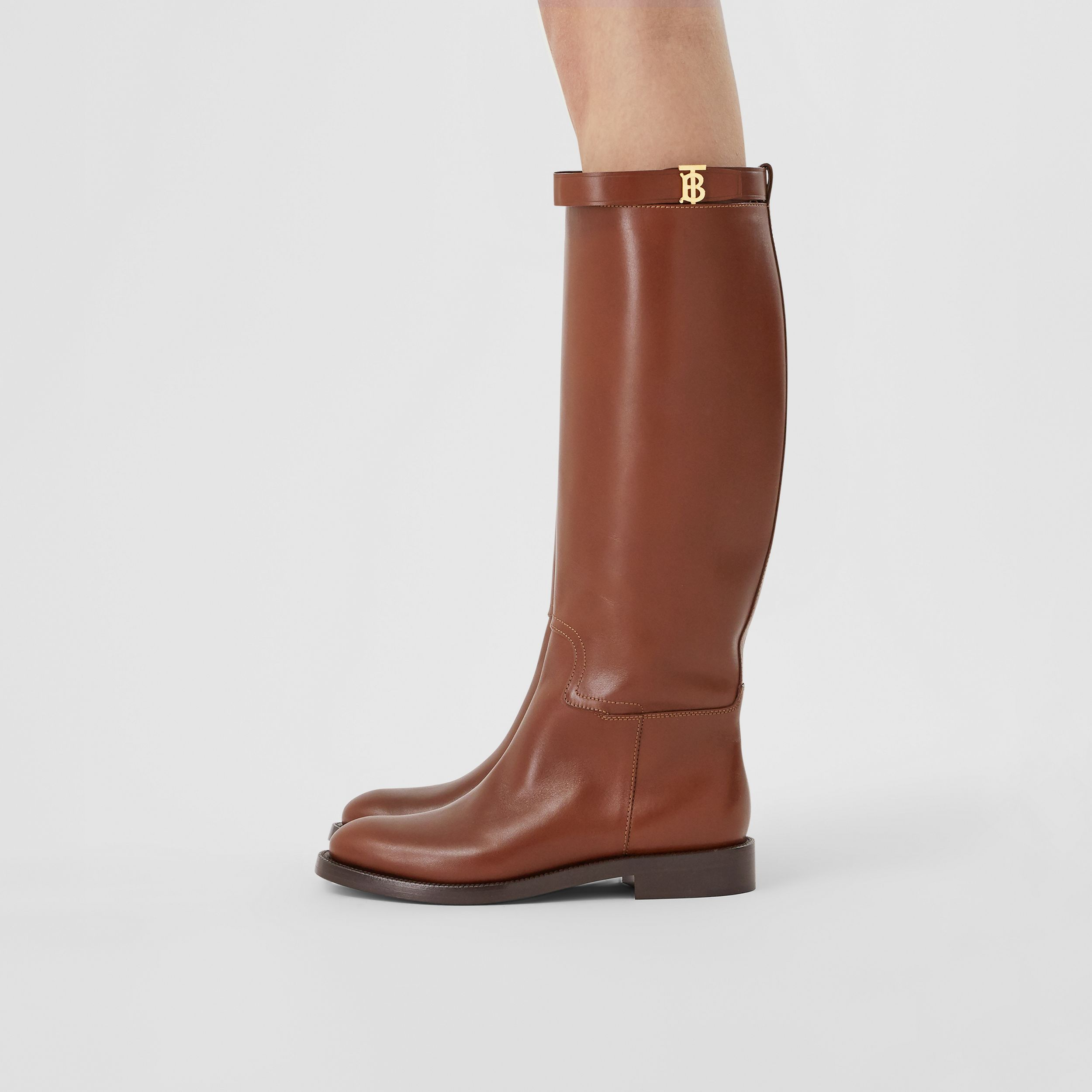 Monogram Motif Leather Knee-high Boots in Tan - Women | Burberry Australia - 3