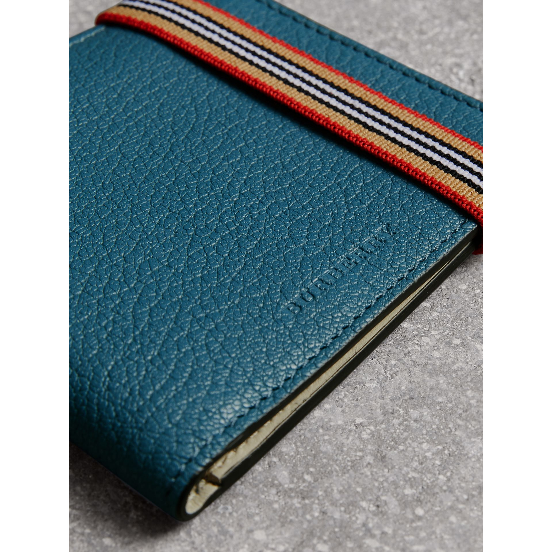 Icon Stripe Leather International Bifold Wallet in Peacock Blue - Men | Burberry - gallery image 1