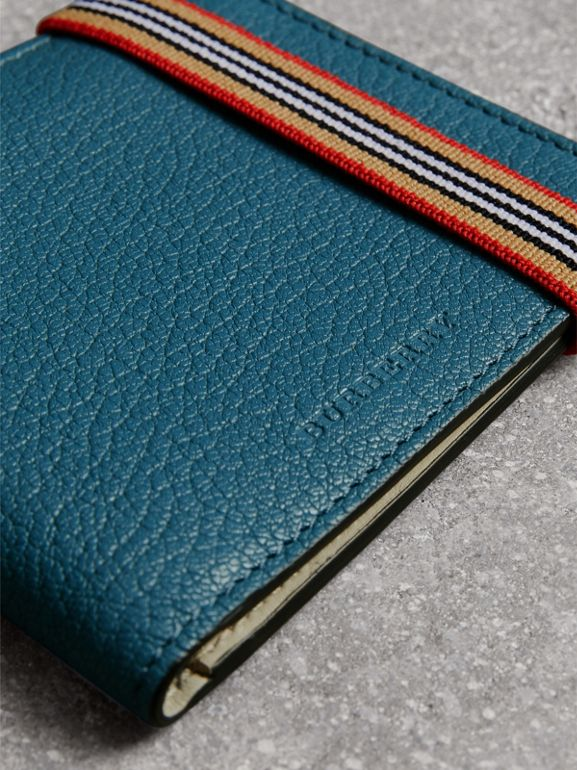 Icon Stripe Leather International Bifold Wallet in Peacock Blue - Men | Burberry - cell image 1