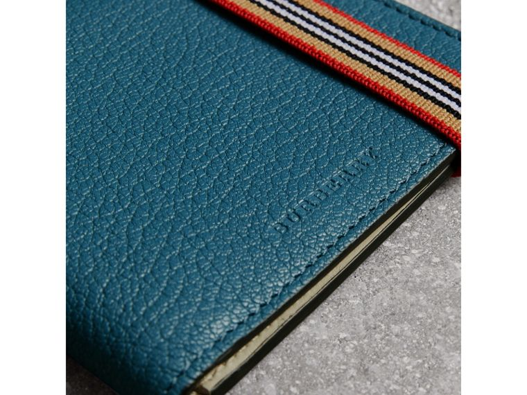 Heritage Stripe Leather International Bifold Wallet in Peacock Blue - Men | Burberry United Kingdom - cell image 1