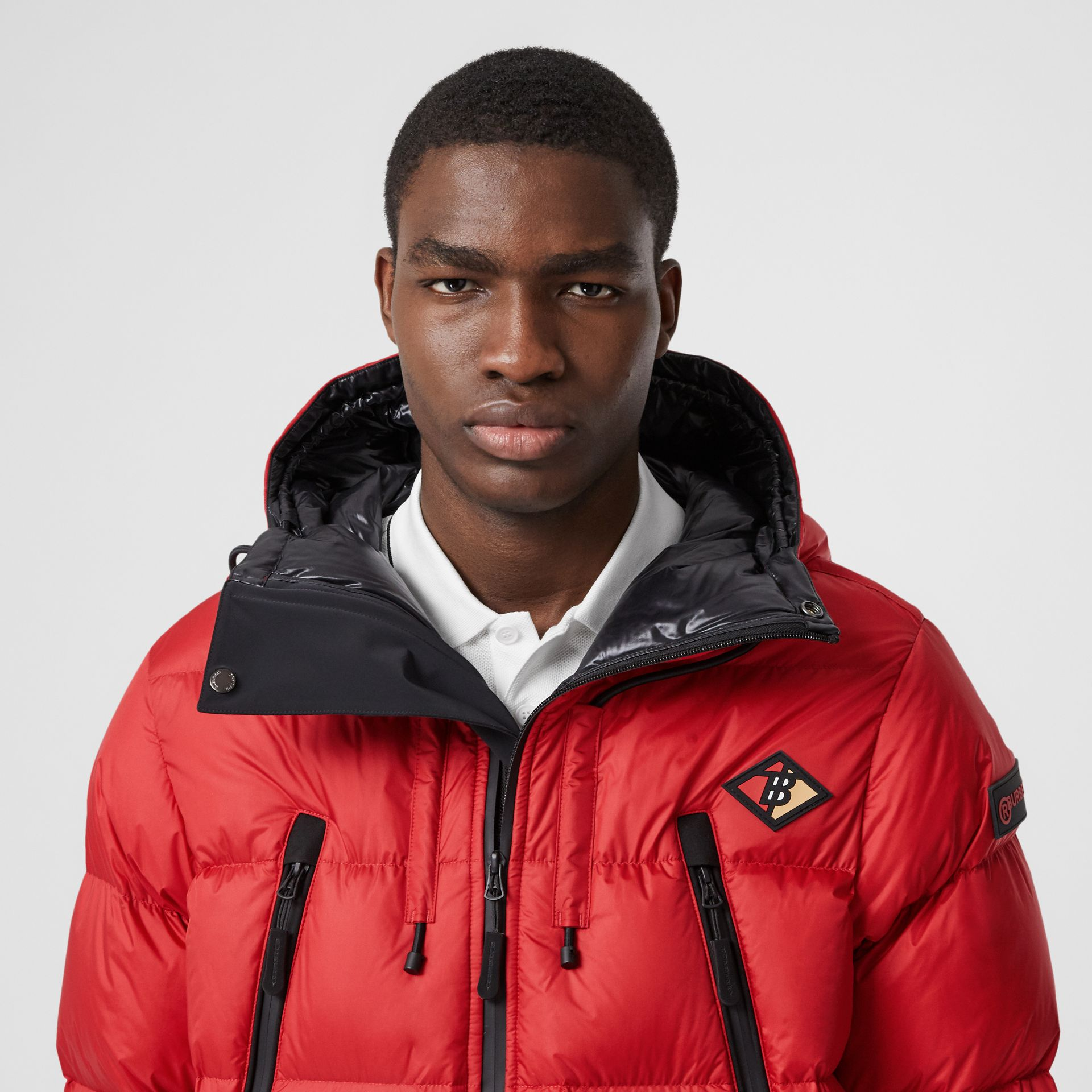 Logo Graphic Hooded Puffer Jacket in Bright Red - Men | Burberry - gallery image 1