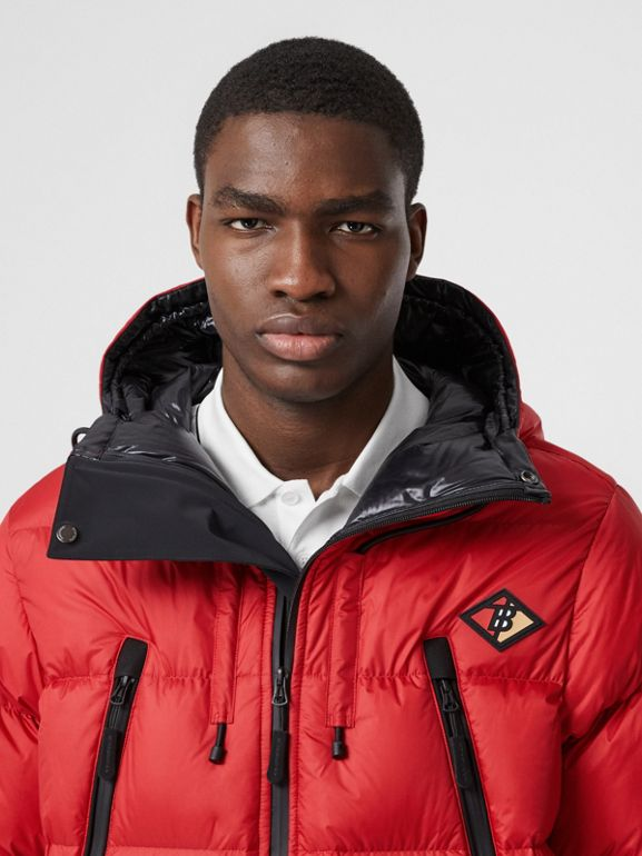 Logo Graphic Hooded Puffer Jacket in Bright Red - Men | Burberry - cell image 1