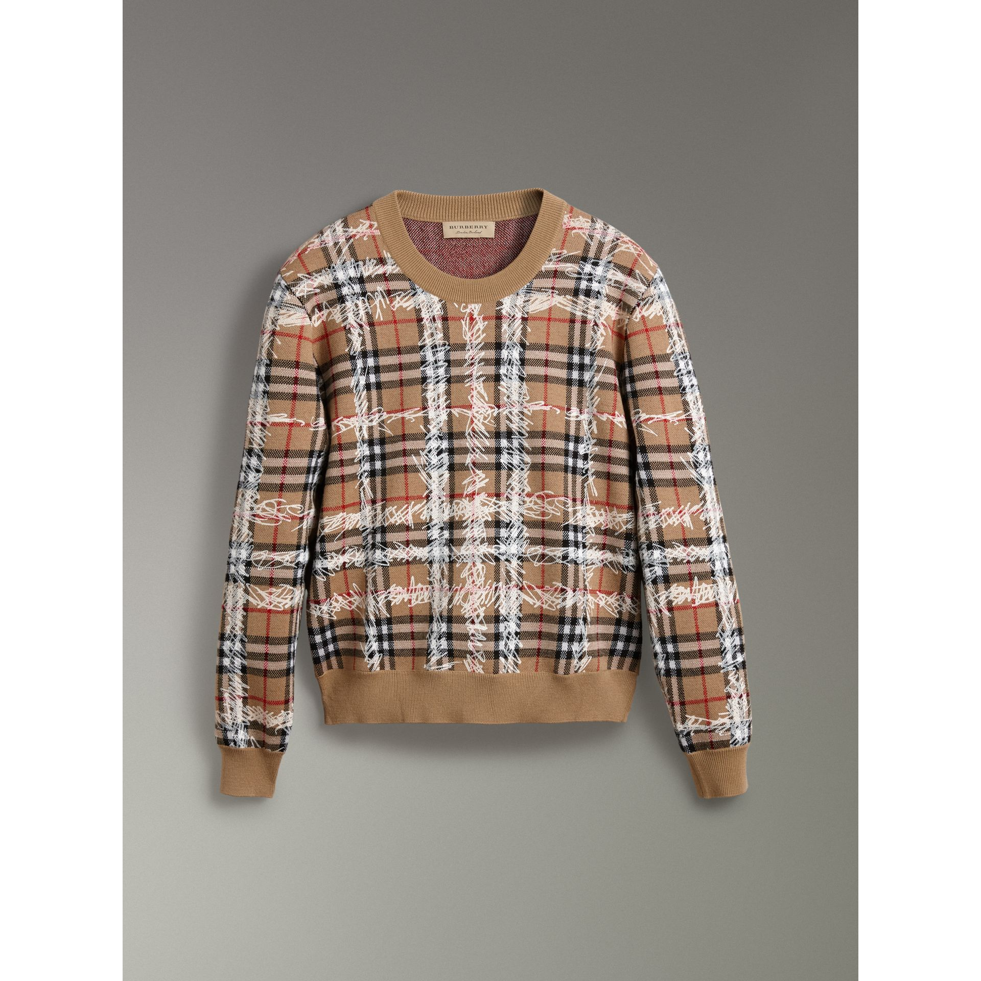 Scribble Check Merino Wool Sweater in Camel/white - Women | Burberry Australia - gallery image 3