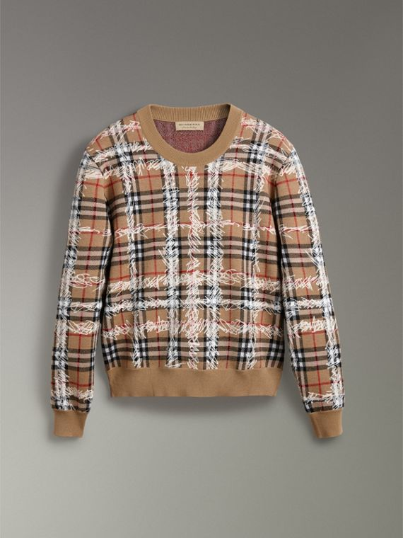 Scribble Check Merino Wool Sweater in Camel/white - Women | Burberry Australia - cell image 3