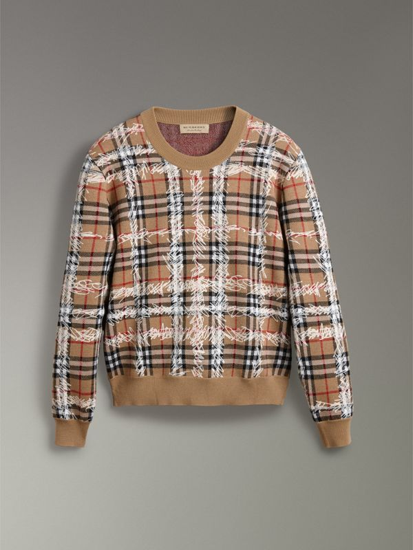 Scribble Check Merino Wool Sweater in Camel/white - Women | Burberry United Kingdom - cell image 3