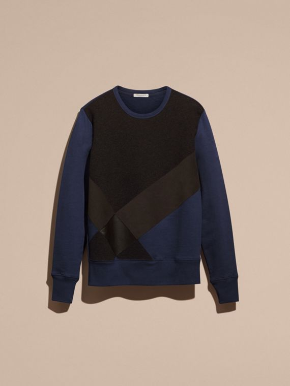 Indigo Sweat-shirt en coton color-block et cuir d'agneau - cell image 3