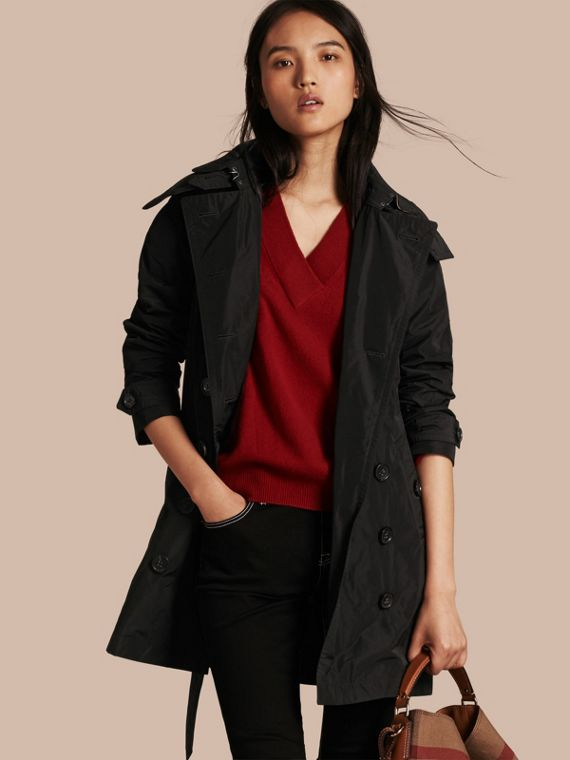 Taffeta Trench Coat with Detachable Hood Black