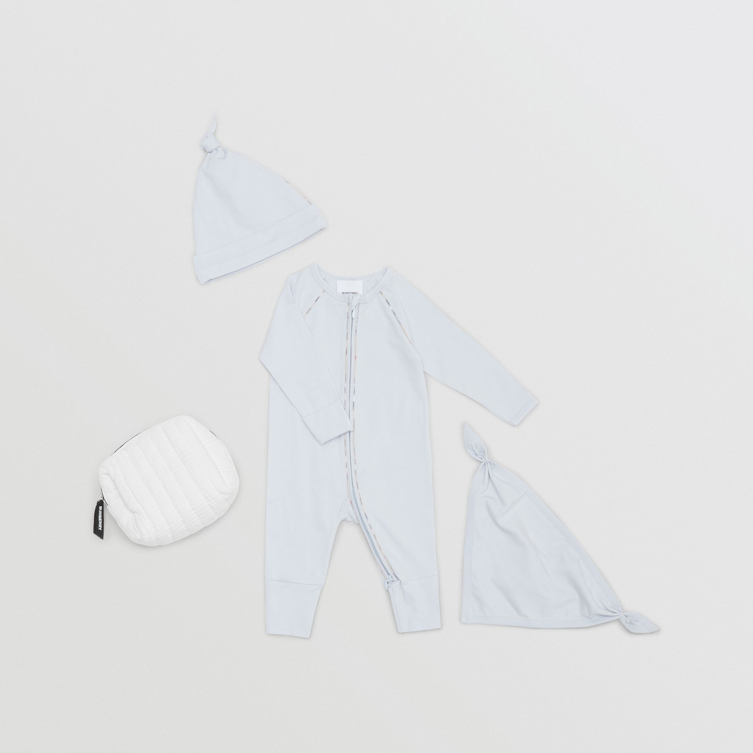Check Trim Stretch Cotton Three-piece Baby Gift Set in Pale Blue - Children | Burberry - 1