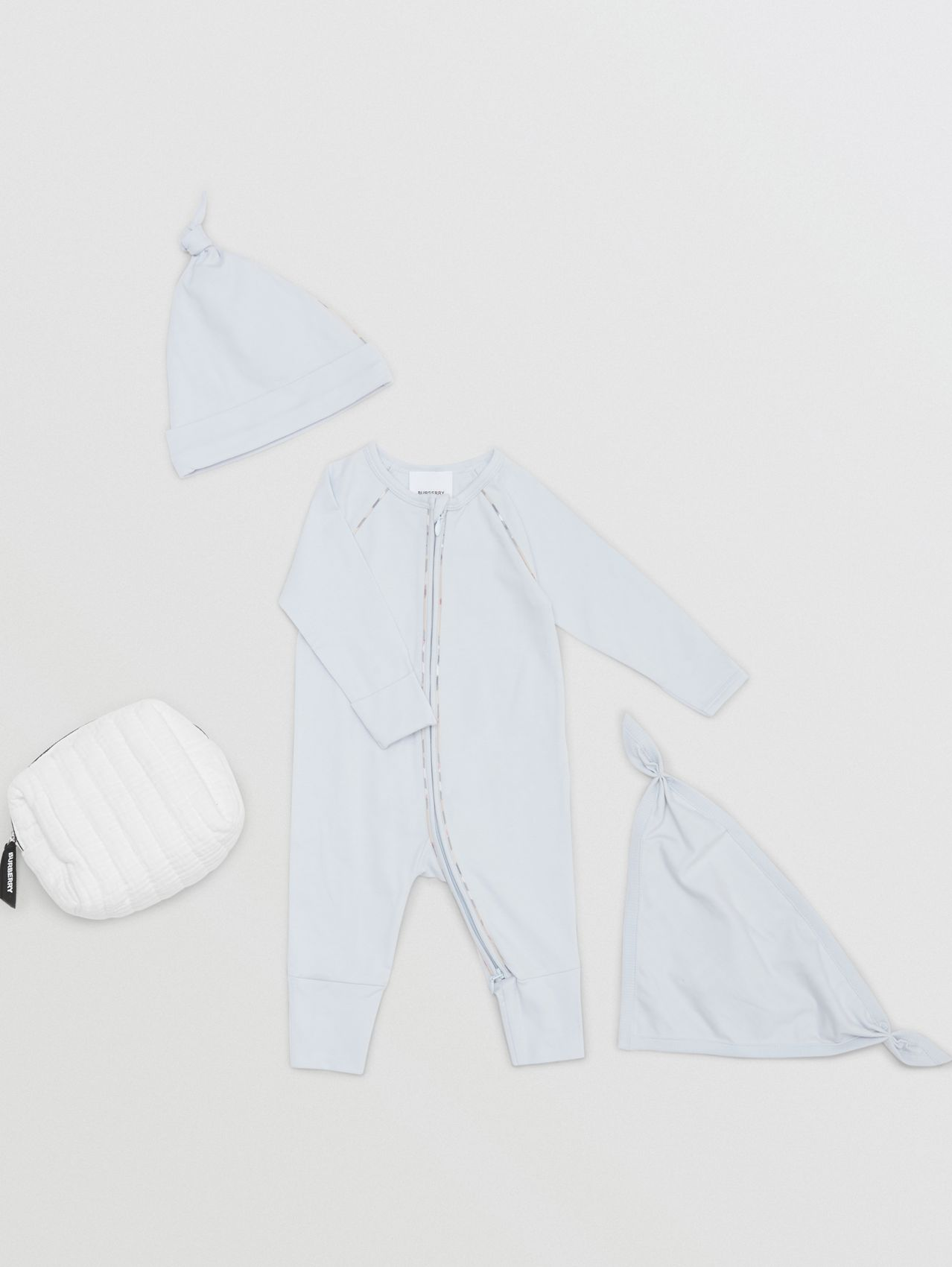 Check Trim Stretch Cotton Three-piece Baby Gift Set in Pale Blue