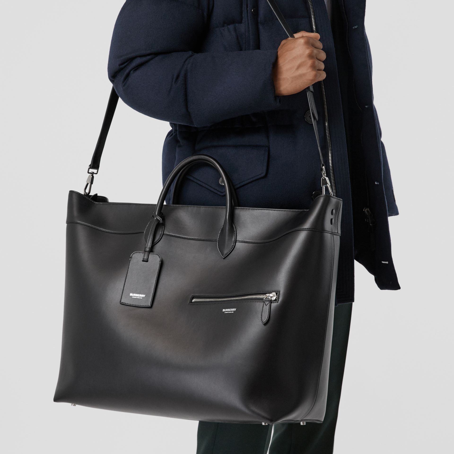 Leather Holdall in Black - Men | Burberry Australia - gallery image 2