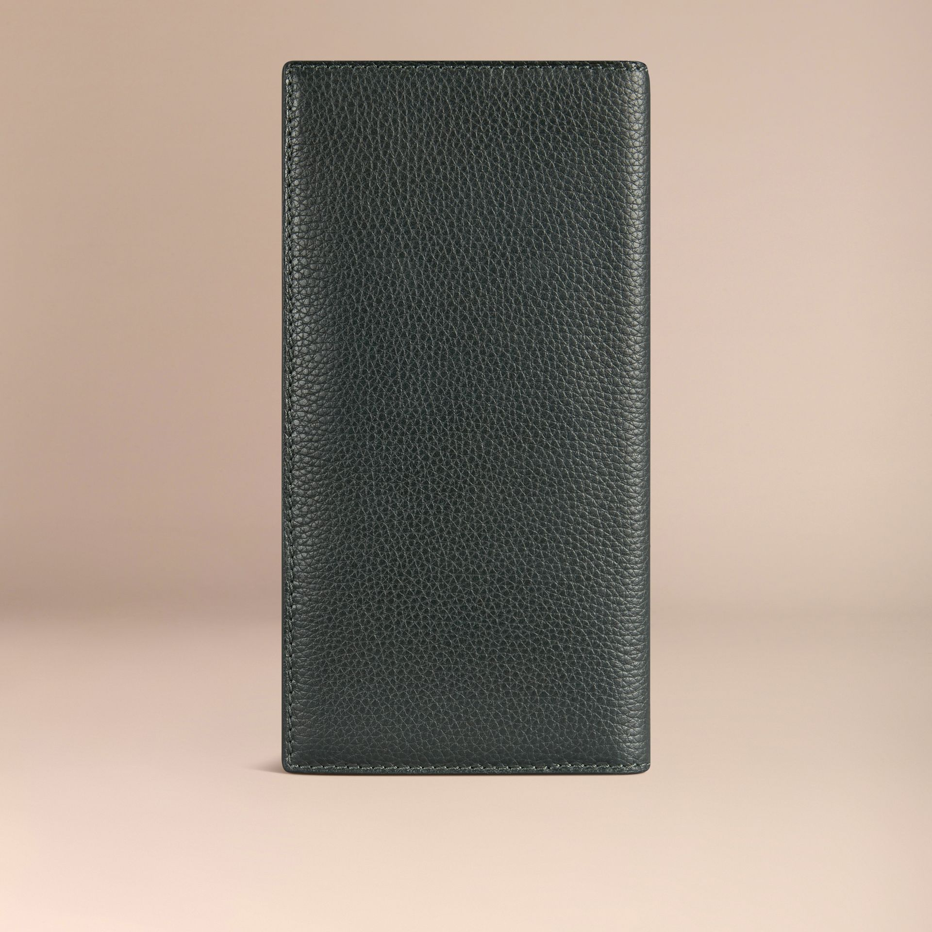 Grainy Leather Travel Card Case in Dark Forest Green - gallery image 3
