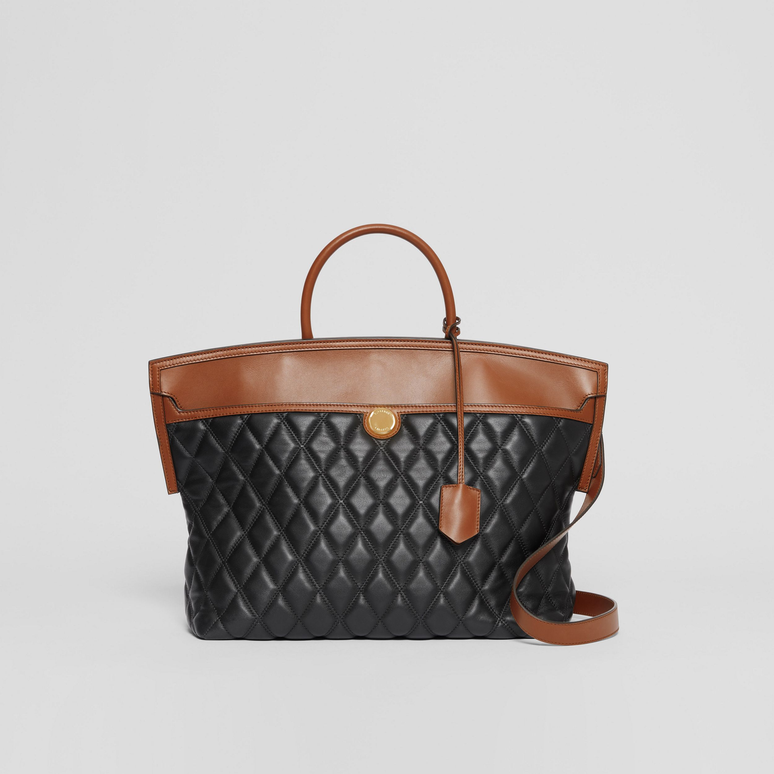 Quilted Lambskin Society Top Handle Bag in Black/brown - Women | Burberry - 1