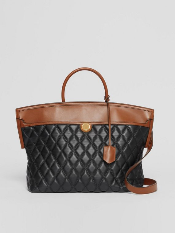 Quilted Lambskin Society Top Handle Bag in Black/brown