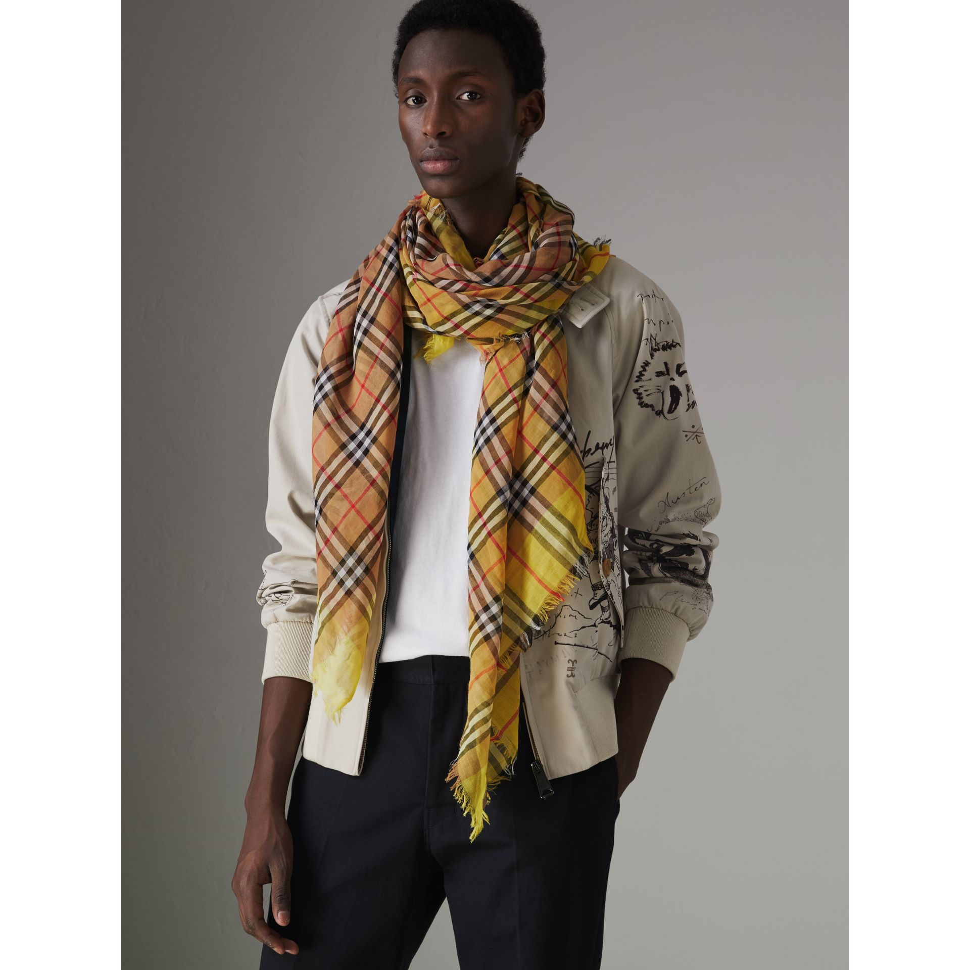 Two-tone Vintage Check Cotton Square Scarf in Bright Lemon | Burberry United States - gallery image 5