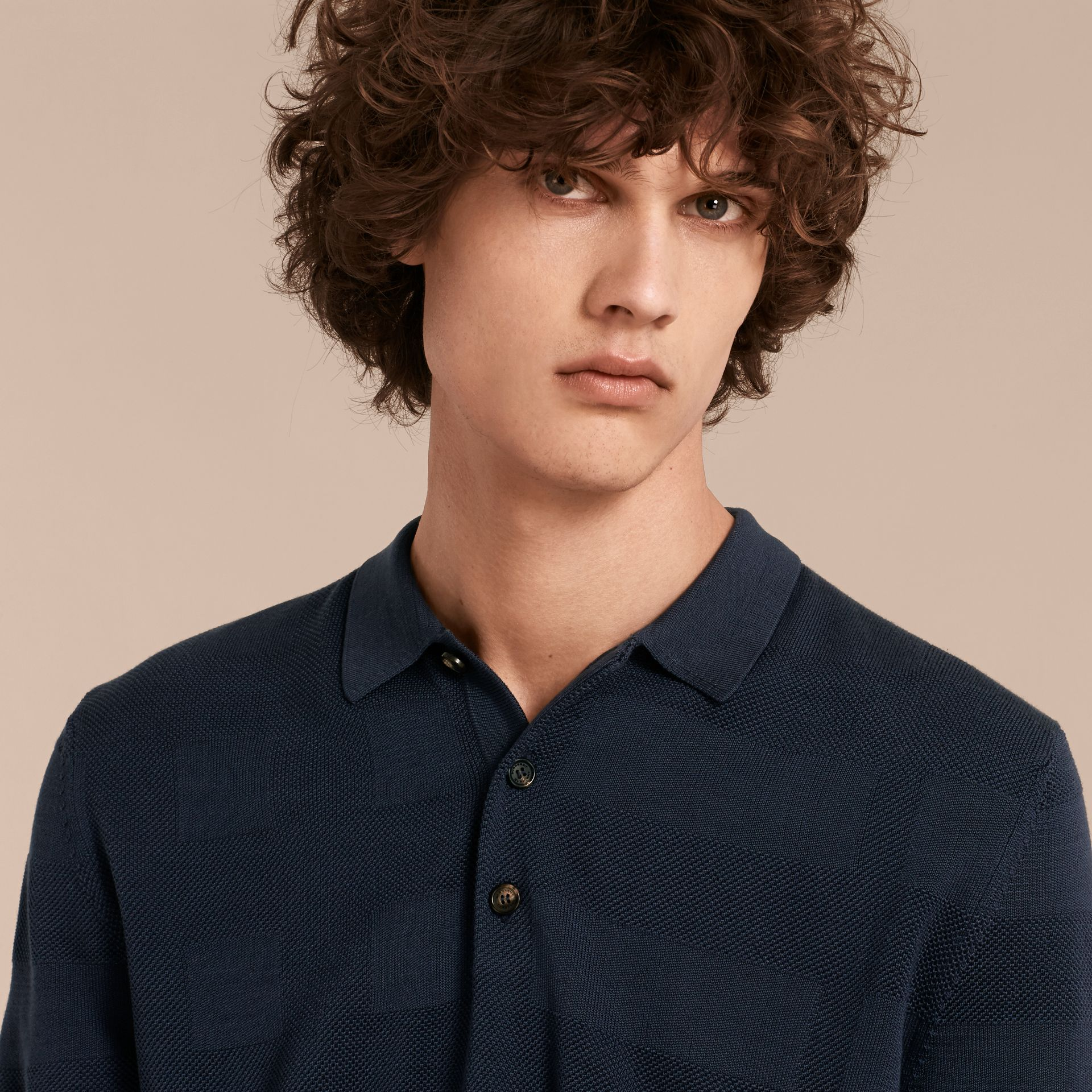 Check Jacquard Piqué Silk Cotton Polo Shirt in Navy - Men | Burberry - gallery image 4