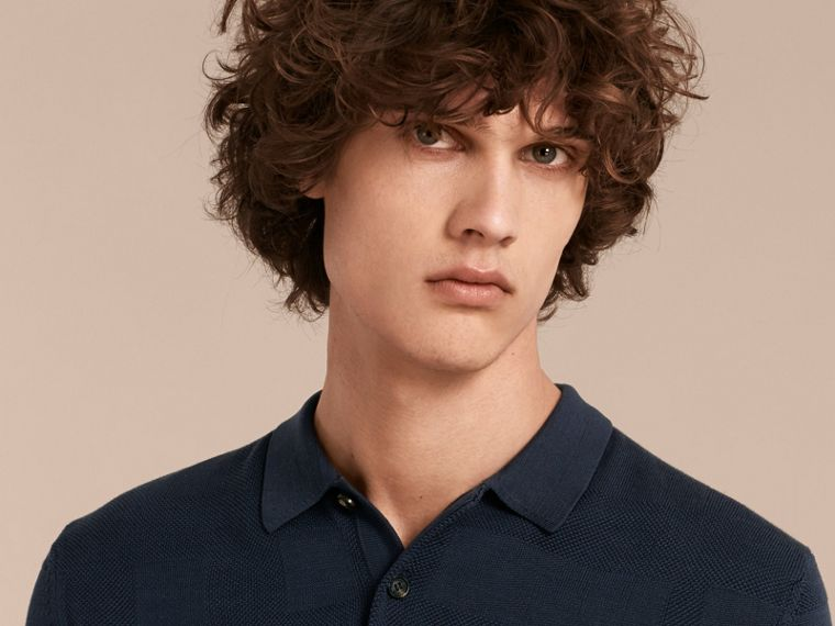 Check Jacquard Piqué Silk Cotton Polo Shirt in Navy - Men | Burberry - cell image 4