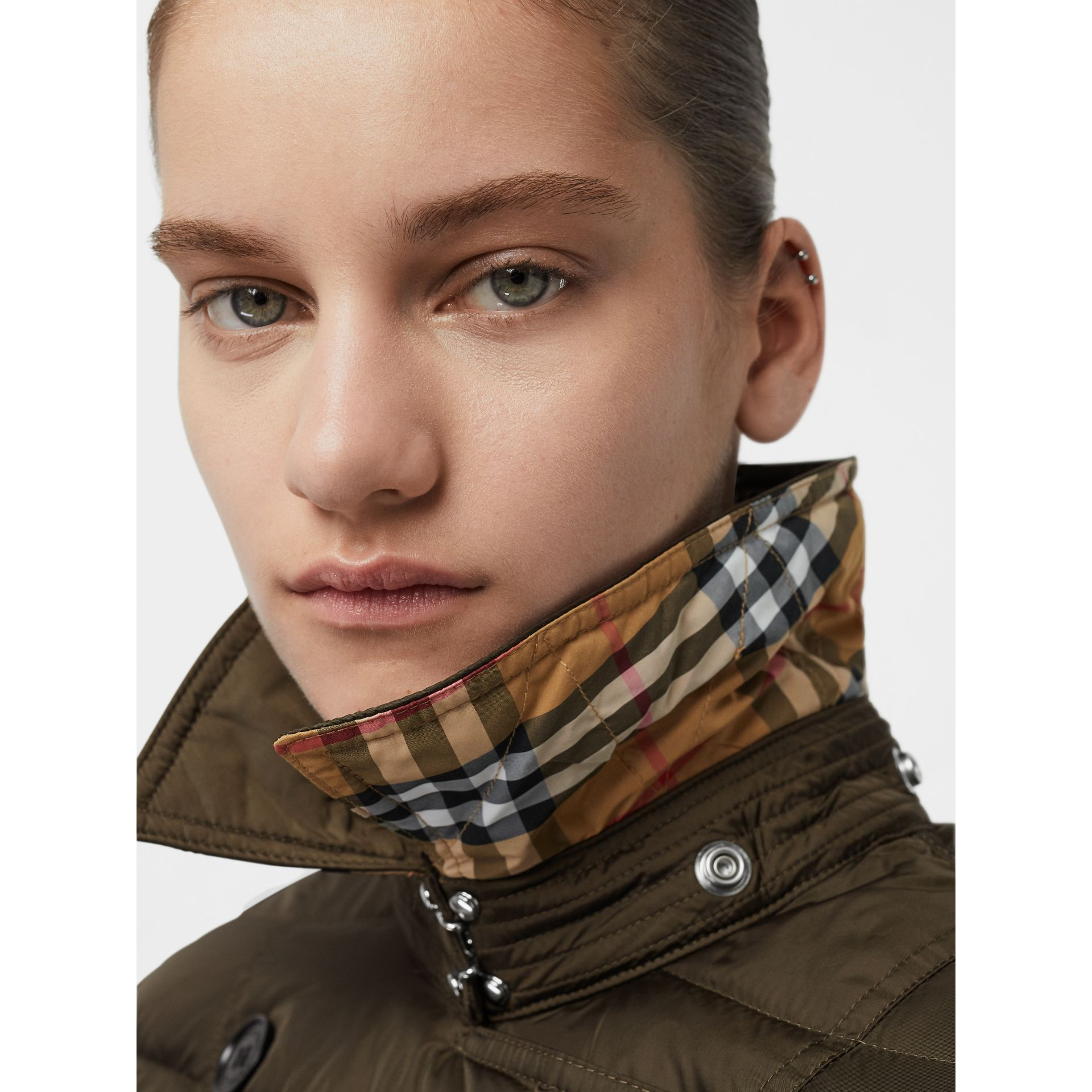 Detachable Hood Down-filled Puffer Coat in Dark Olive - Women | Burberry - gallery image 1