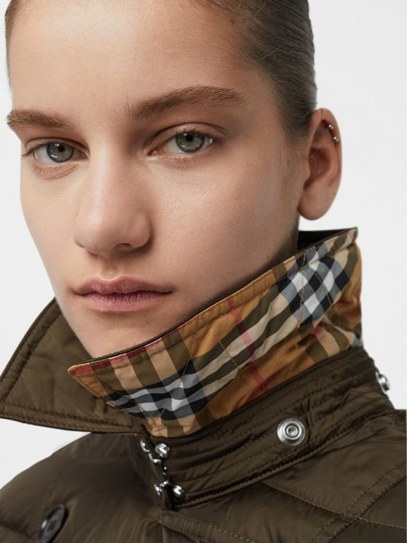 Detachable Hood Down-filled Puffer Coat in Dark Olive - Women | Burberry - cell image 1