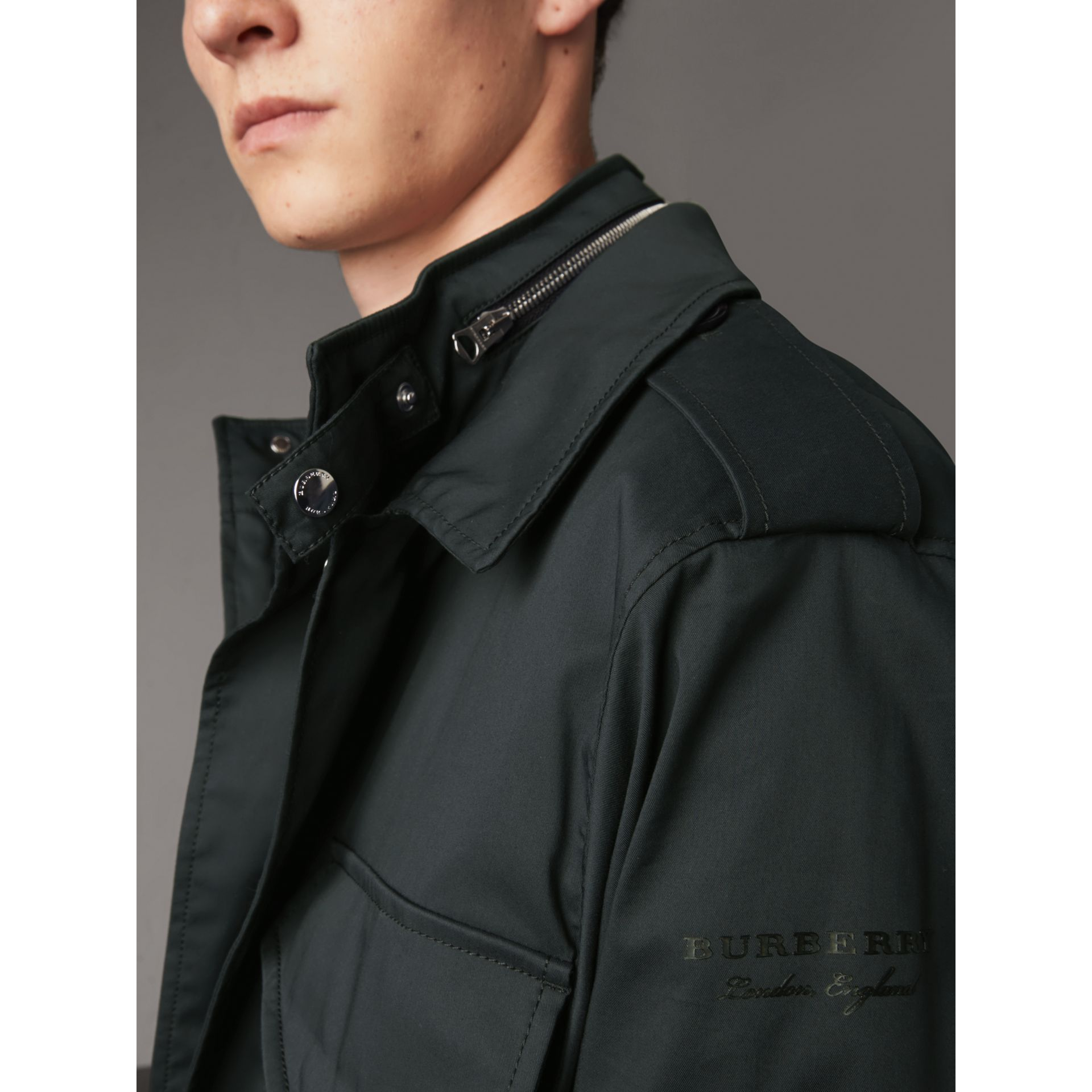 Longline Cotton Blend Field Jacket with Detachable Gilet in Navy - Men | Burberry - gallery image 4