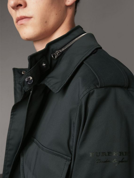 Longline Cotton Blend Field Jacket with Detachable Gilet in Navy - Men | Burberry - cell image 3