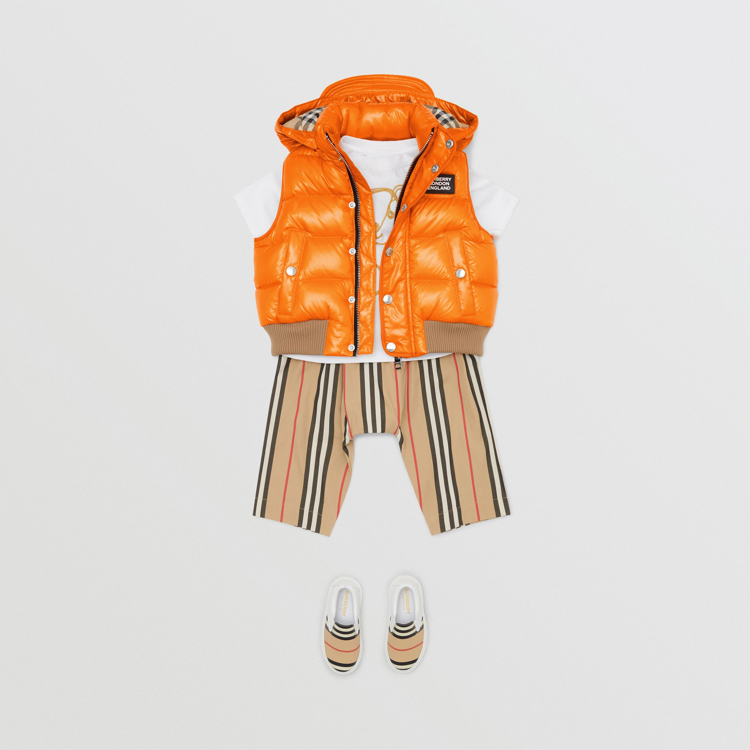 Detachable Hood Nylon Puffer Gilet in Bright Mandarin - Children | Burberry - 3