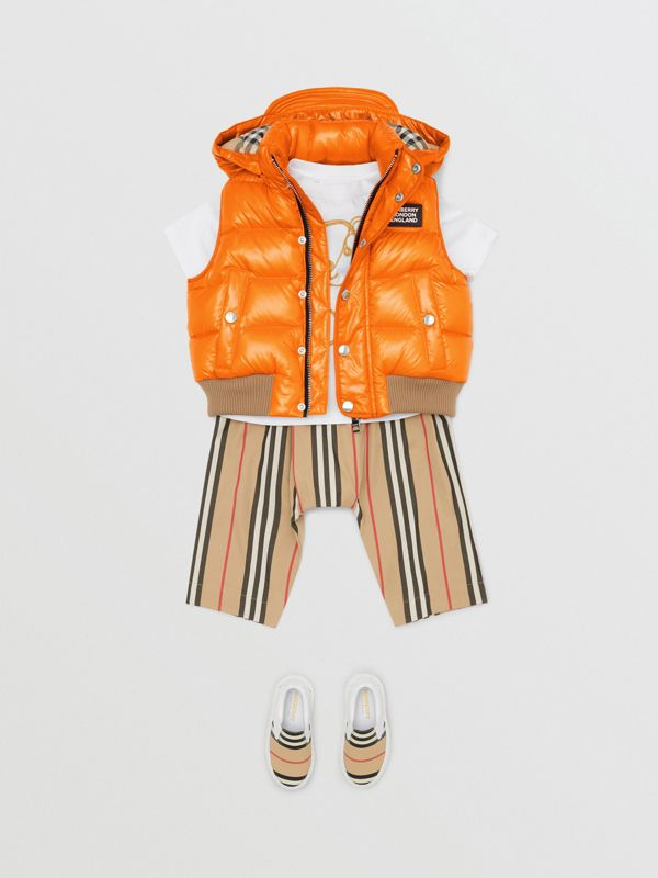 Detachable Hood Nylon Puffer Gilet in Bright Mandarin - Children   Burberry United States - cell image 2