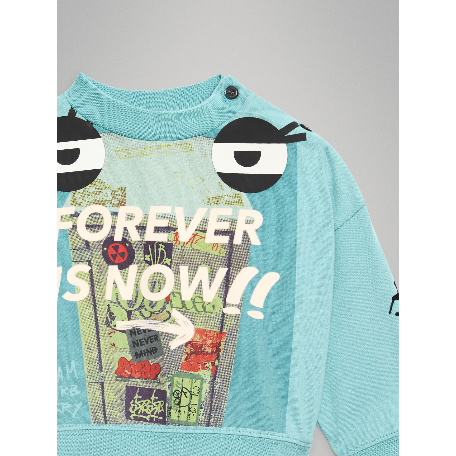 Forever is Now Print Cotton Sweatshirt in Turquoise - Children | Burberry - gallery image 4