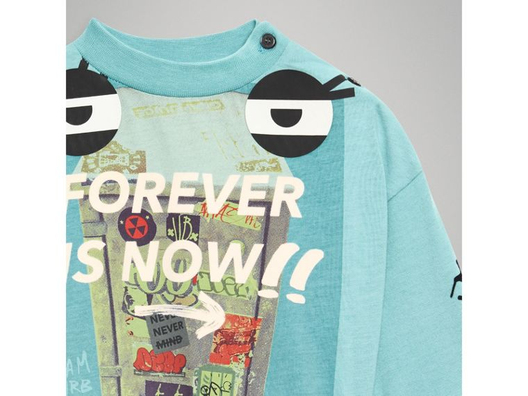 Forever is Now Print Cotton Sweatshirt in Turquoise | Burberry - cell image 4