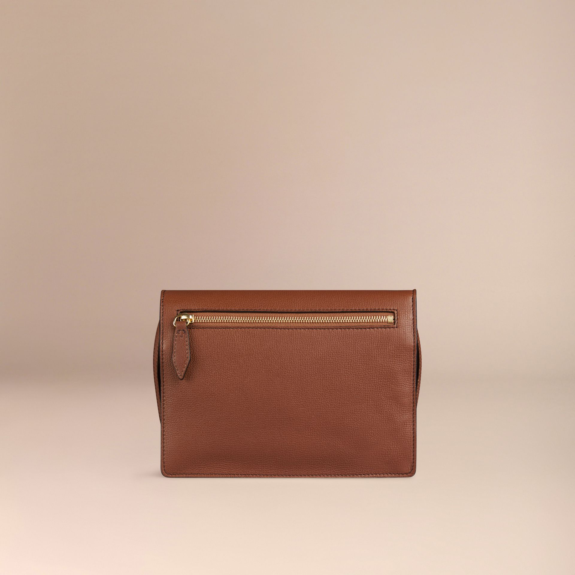 Tan Small Leather and House Check Crossbody Bag Tan - gallery image 3