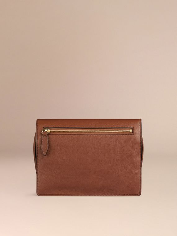 Small Leather and House Check Crossbody Bag in Tan - cell image 2
