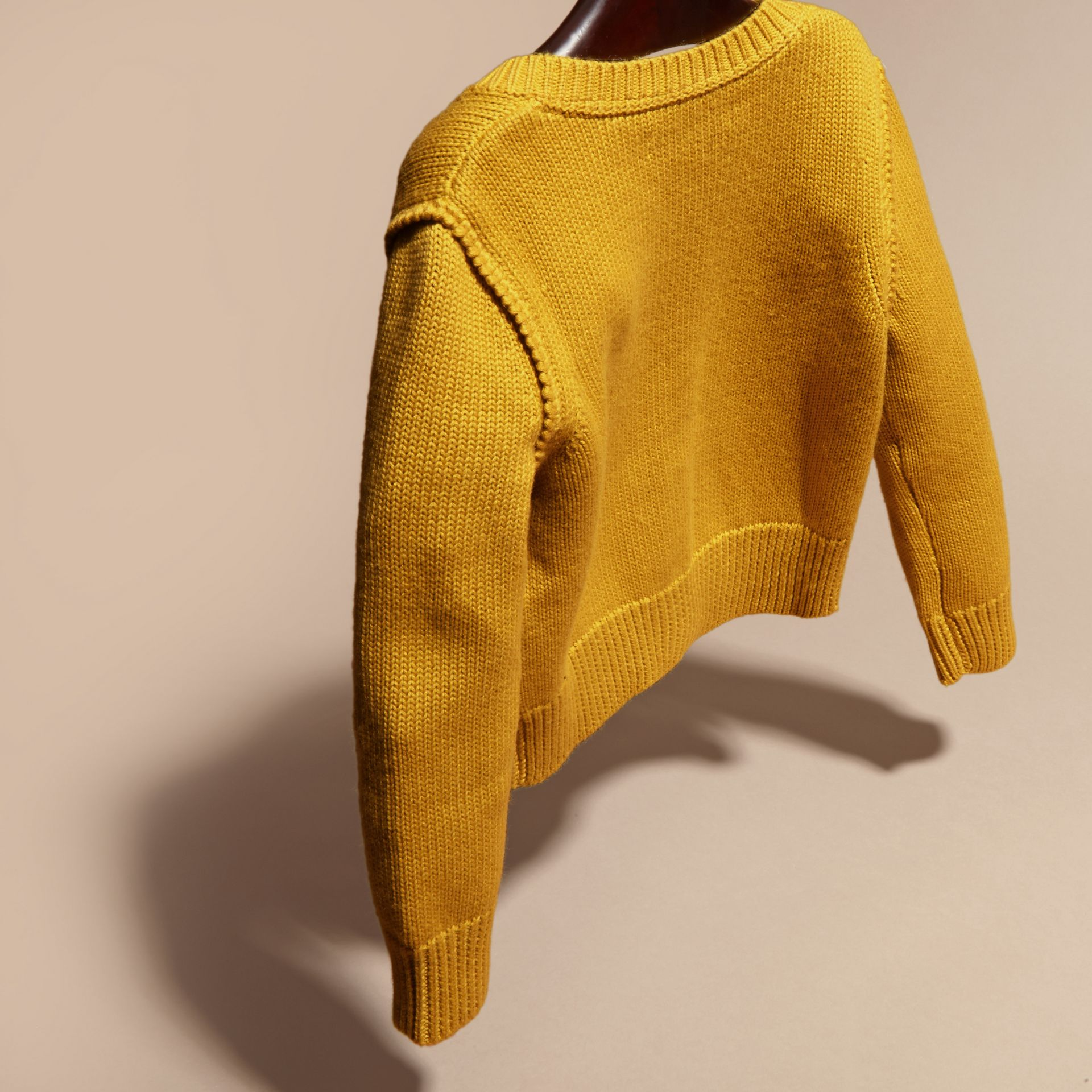 Ochre yellow Cashmere Cotton Cardigan Ochre Yellow - gallery image 4