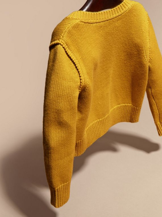 Ochre yellow Cashmere Cotton Cardigan Ochre Yellow - cell image 3