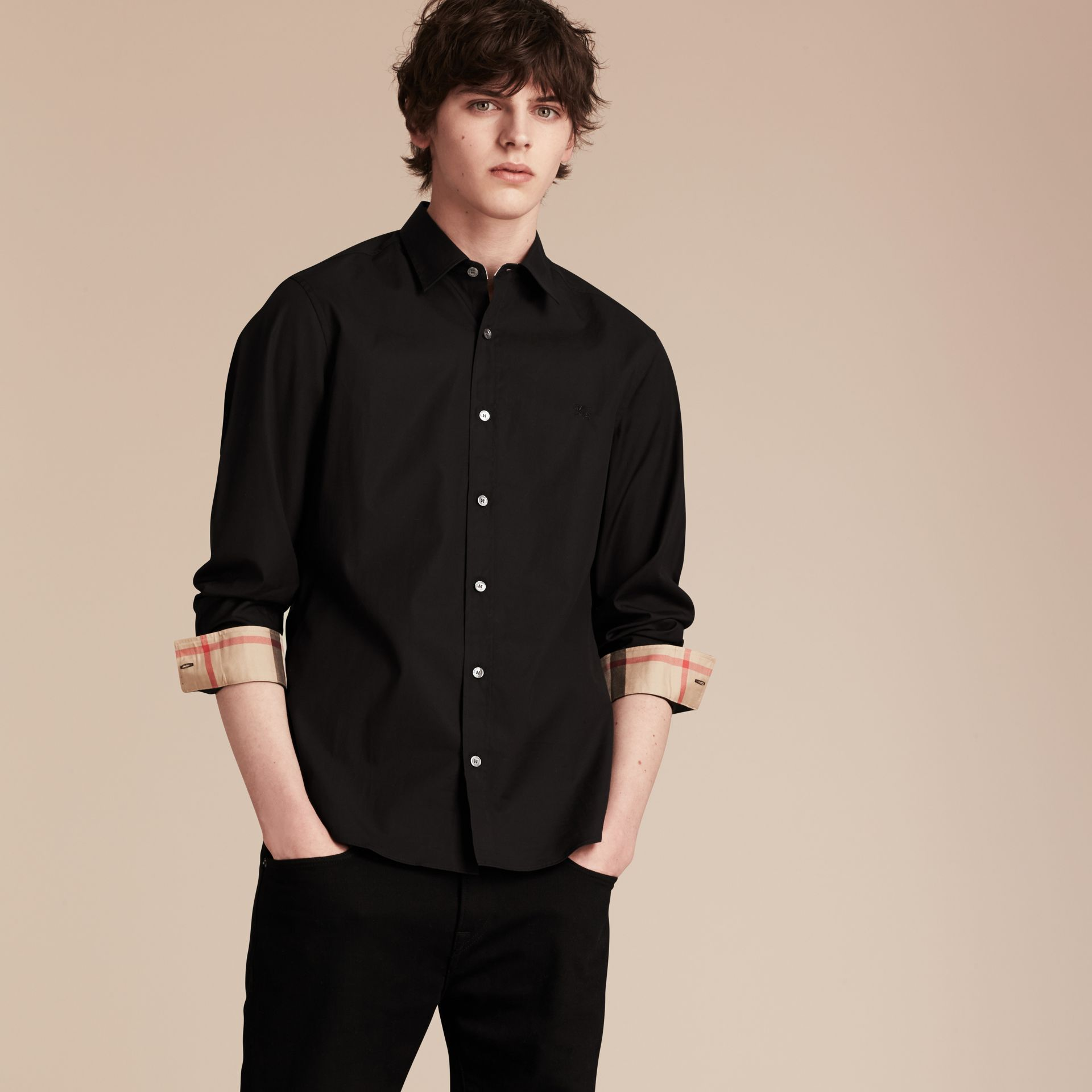 Check Detail Stretch Cotton Poplin Shirt in Black - gallery image 6