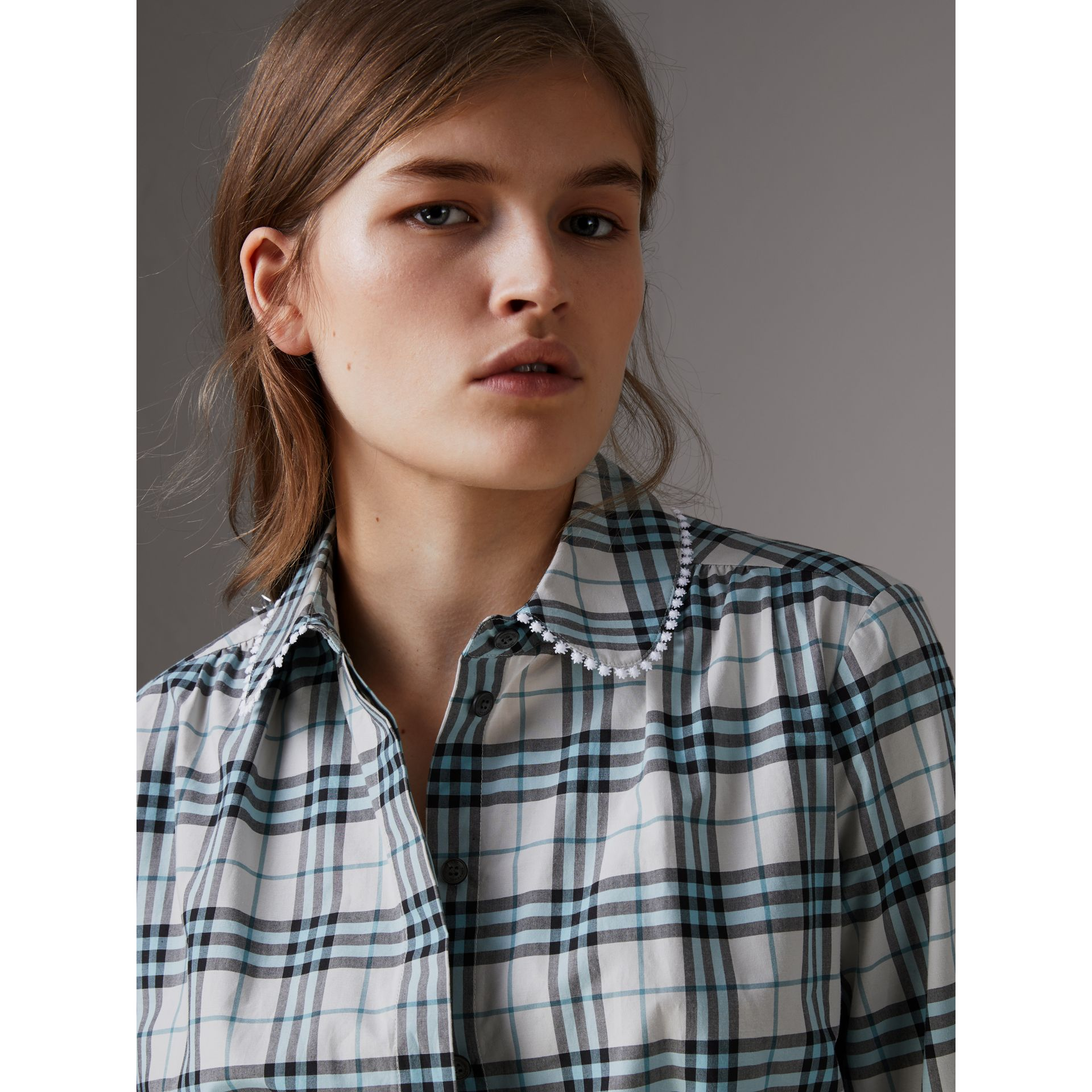 Lace Trim Collar Check Cotton Shirt Dress in Pale Stone - Women | Burberry - gallery image 1