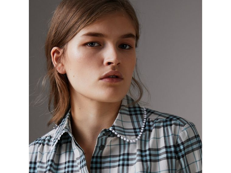 Lace Trim Collar Check Cotton Shirt Dress in Pale Stone - Women | Burberry - cell image 1