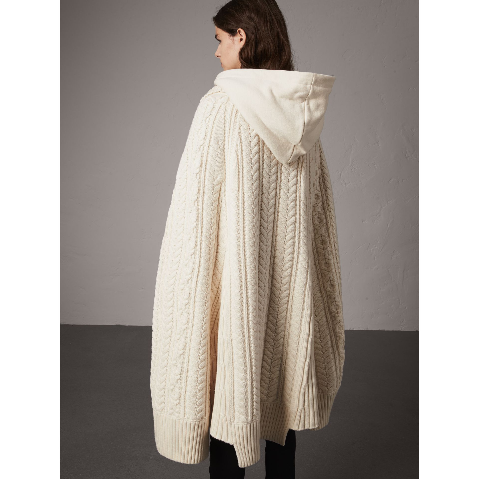 Cable Knit Wool Cashmere Poncho in Natural White - Women | Burberry - gallery image 2