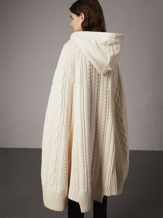 Cable Knit Wool Cashmere Poncho in Natural White - Women | Burberry - cell image 2