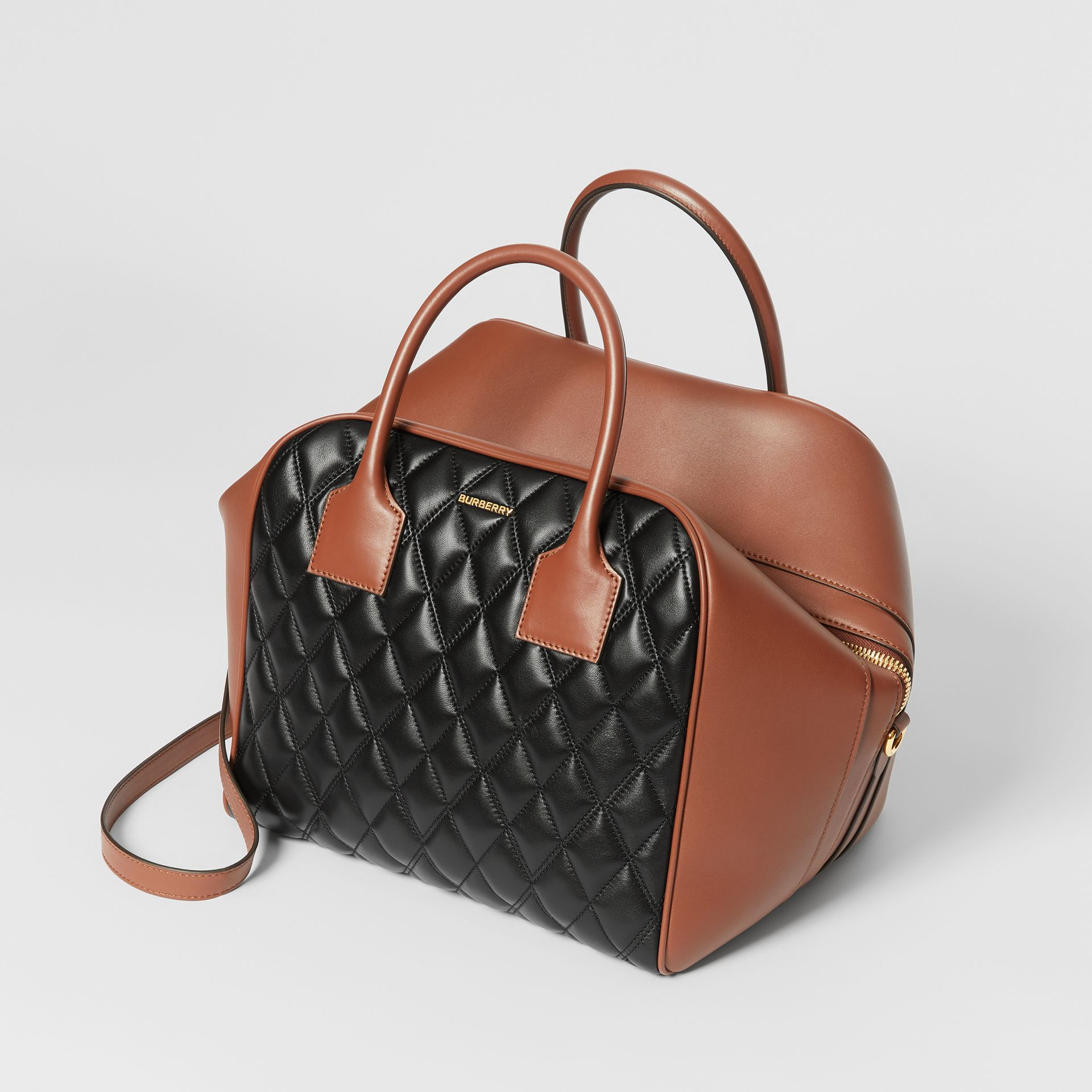 Medium Quilted Lambskin Cube Bag in Black - Women | Burberry - gallery image 2