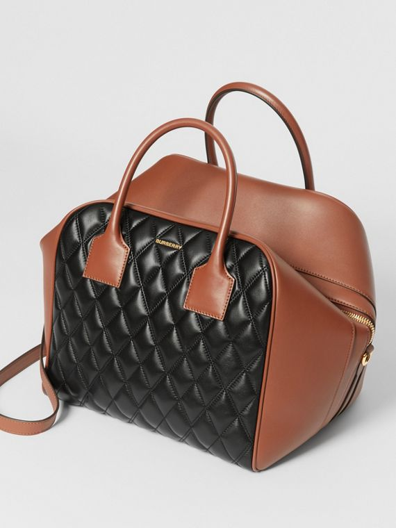 Medium Quilted Lambskin Cube Bag in Black