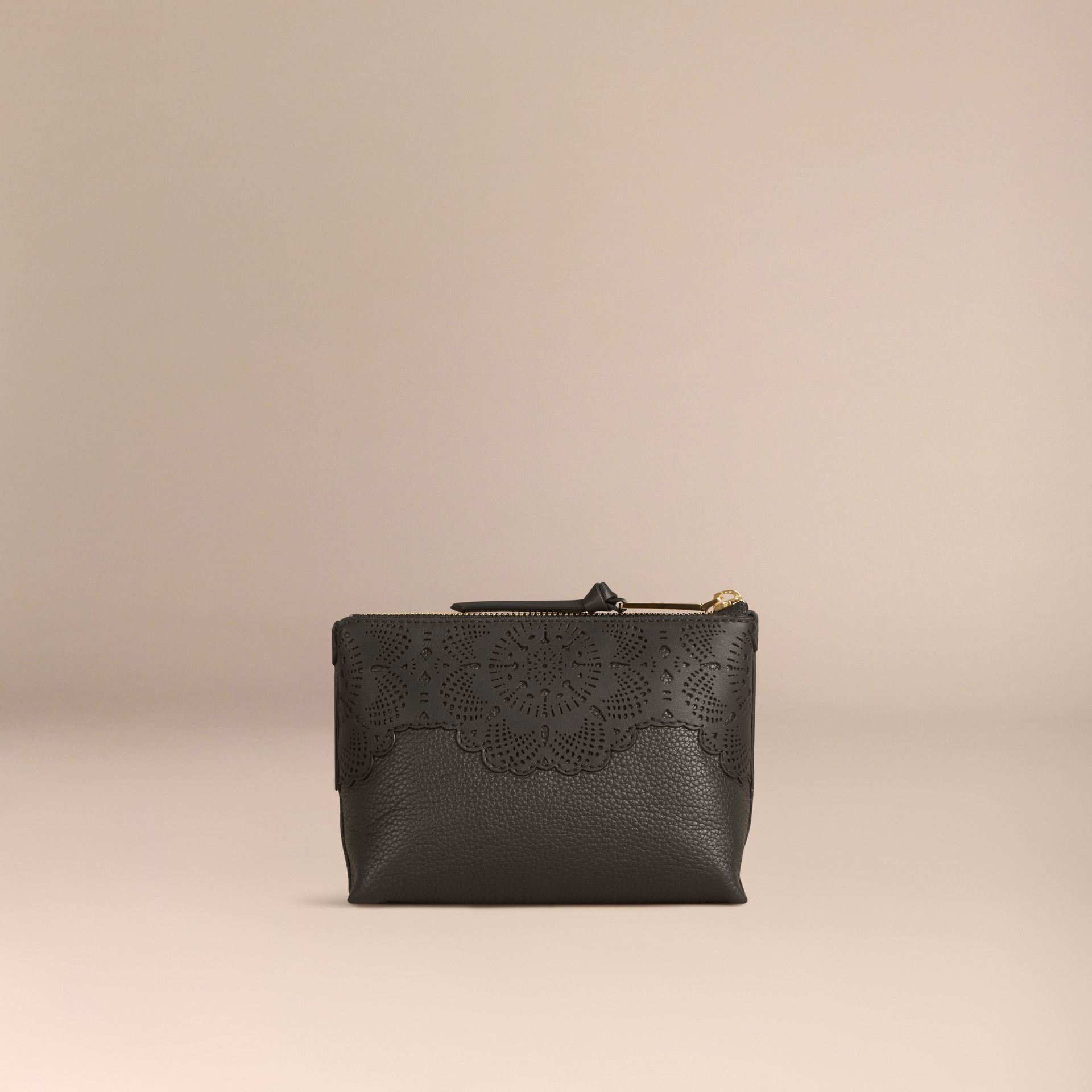Black Medium Grainy Leather Beauty Pouch - gallery image 2