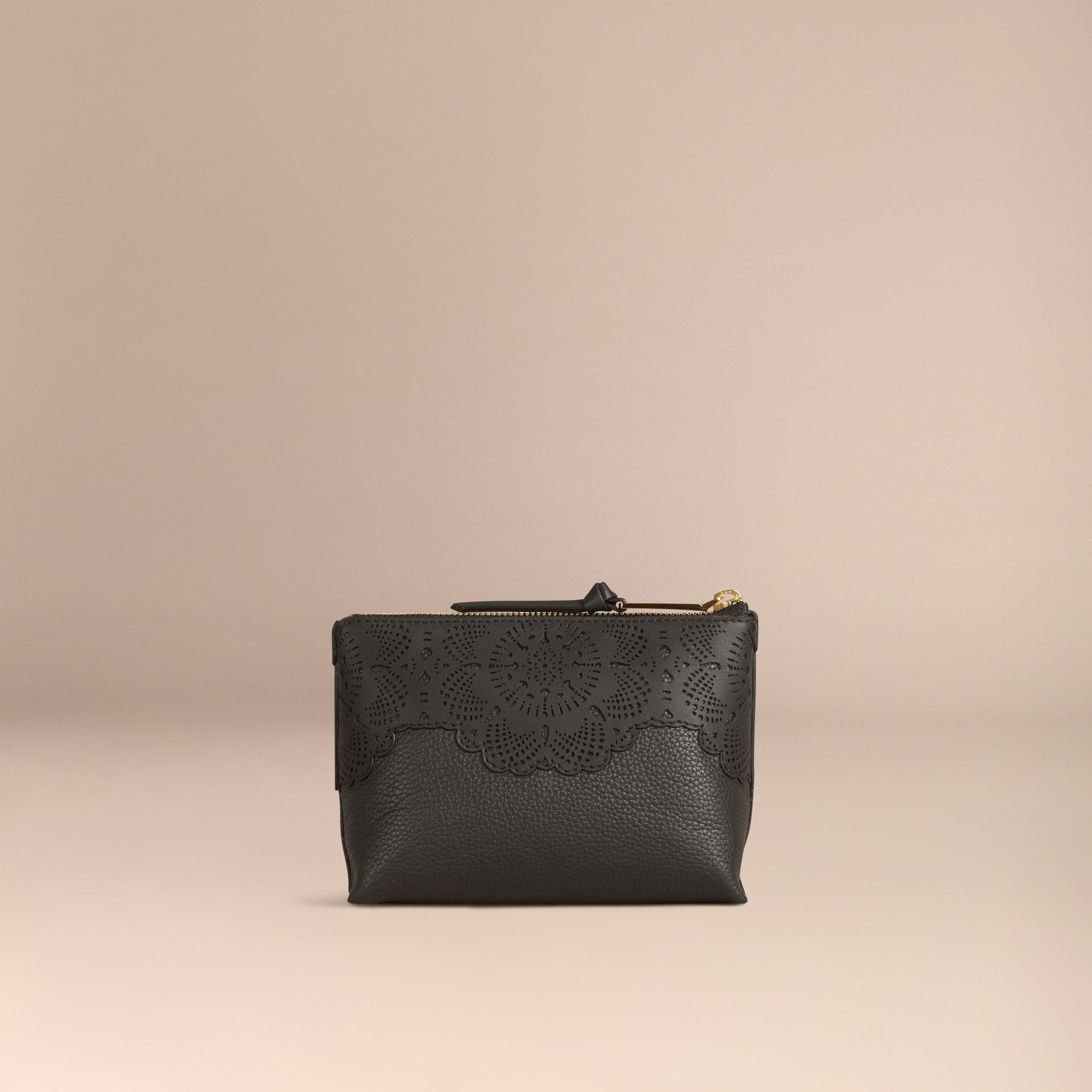 Noir Trousse de maquillage medium en cuir grené - photo de la galerie 2