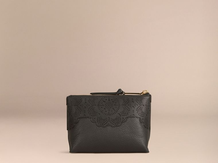 Black Medium Grainy Leather Beauty Pouch - cell image 1